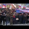 Новоуренгойские общественники вышли намитинг вчесть годовщины вхождения Крыма всостав России.